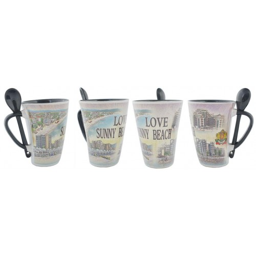 Сувенирна керамична чаша с лъжичка - Слънчев бряг
