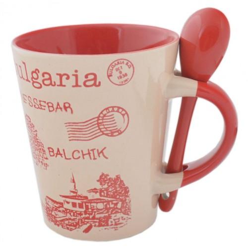 Сувенирна чаша и лъжичка с изображения от Албена, Варна, Балчик и Несебър
