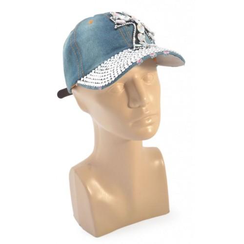 Спортна лятна шапка от дънков плат с козирка - кръст