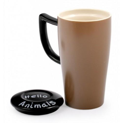 Забавна керамична чаша с капак