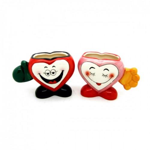 Комплект чаши за влюбени във формата на сърца