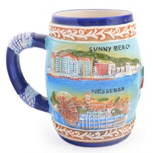 Сувенирна керамична чаша със забележителности от Варна, Златни пясъци, Слънчев бряг и Несебър