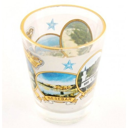 Сувенирен стъклен шот с декорация от Балчик