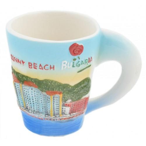 Сувенирна чаша с релефна декорация от Слънчев бряг