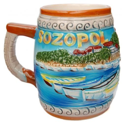 Сувенирна халба с релефна декорация от Созопол