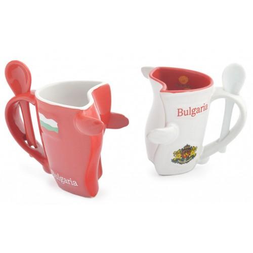 Комплект керамични чаши с лъжичка