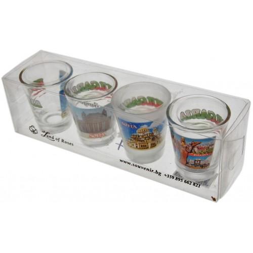 Комплект четири броя стъклени чаши с декорация - забележителности в София