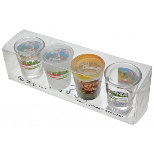 Комплект четири броя  стъклени чаши с декорация - Балчик