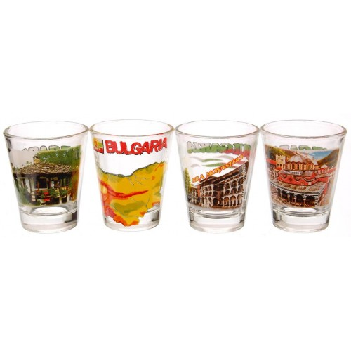 Комплект четири броя стъклени чаши с декорация -НДК в София