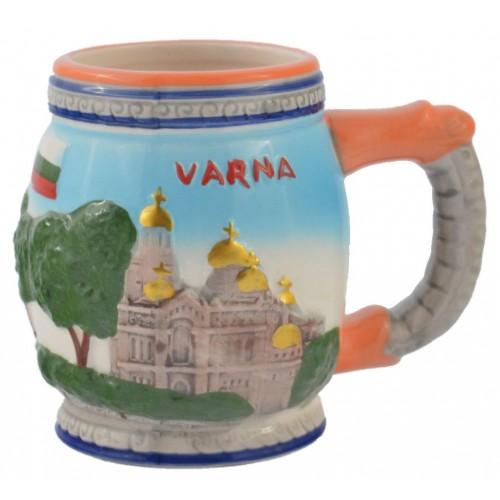 Чаша за бира с релефни забележителности от Варна