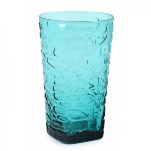 Релефна водна чаша, изработена от цветно стъкло