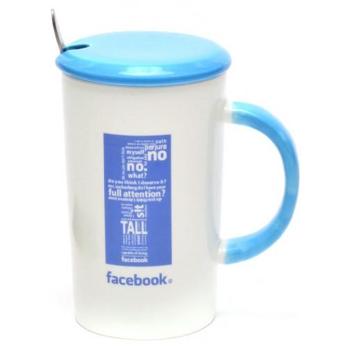 Керамична чаша Facebook с капак и лъжичка