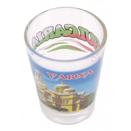 Комплект четири броя сувенирни стъклени чаши с декорация - Варна