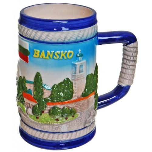 Сувенирна чаша от порцелан с релефни изгледи от Банско