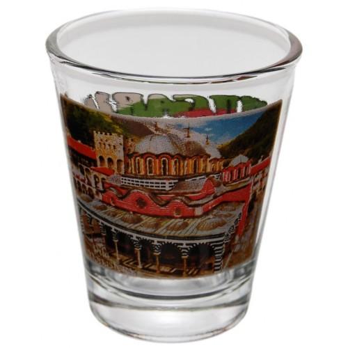 Комплект четири броя сувенирни стъклени чаши с декорация - Рилският манастир