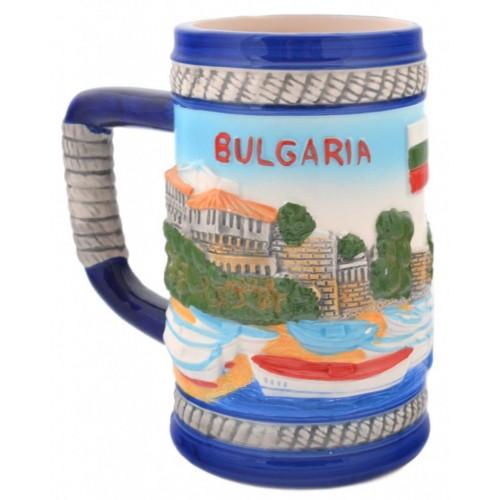 Сувенирна релефна чаша от порцелан с релефни забележителности от град Несебър