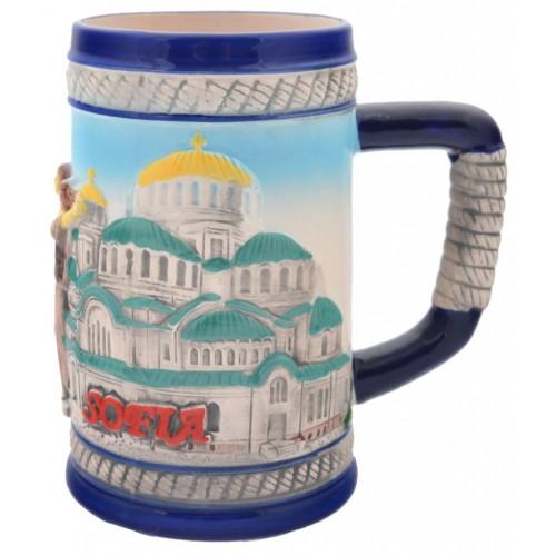 Сувенирна чаша от порцелан с релефни забележителности от София