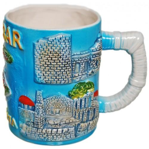 Сувенирна чаша порцелан с релефни забележителности от Несебър