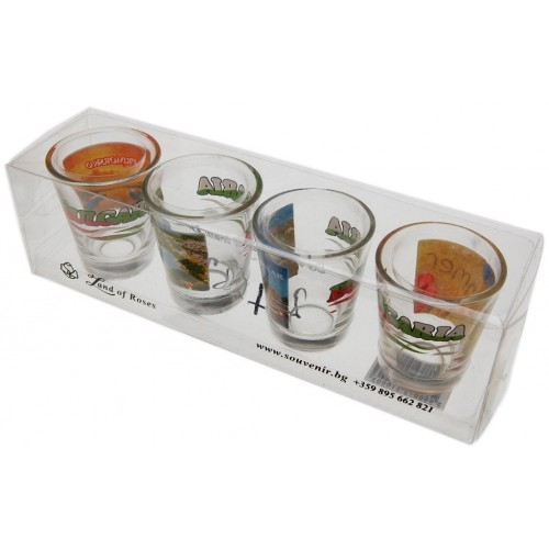 Комплект четири броя сувенирни стъклени чаши с декорация - Приморско, Несебър