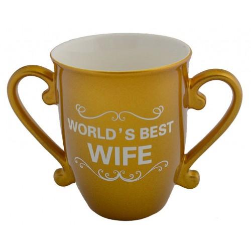 Златиста подаръчна чаша с две дръжки