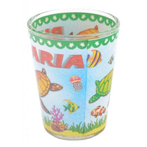 Сувенирна чаша за шот, декорирана с морски обитатели