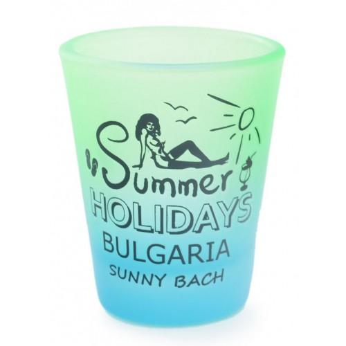 Сувенирен шот с излегната жена и надпис - Summer Holidays Bulgaria Sunny beach