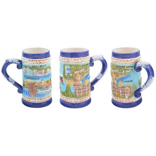 Сувенирна керамична чаша с релефни забележителности от Черноморието