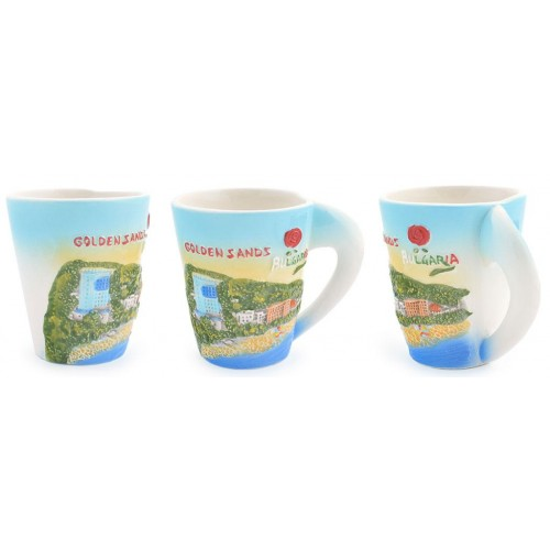Сувенирна керамична чаша със снимки от Златни пясъци и логото на България