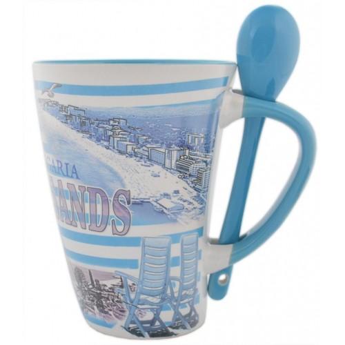Сувенирна керамична чаша - забележителности от Златни пясъци и моркси мотиви