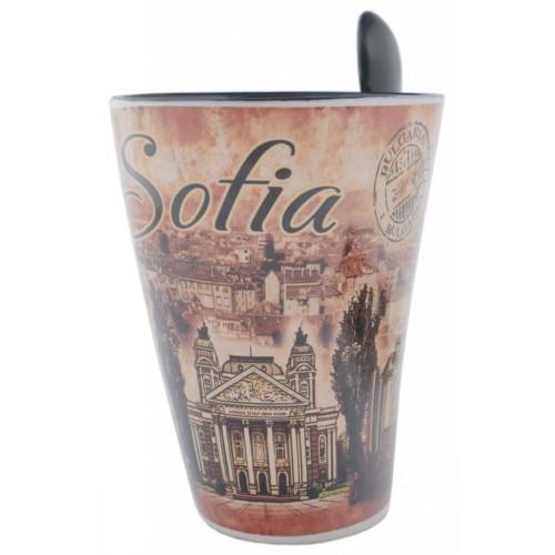 Сувенирна керамична чаша с лъжичка - забележителности от София