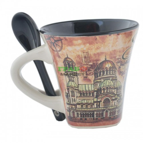 Чаша от керамика с лъжичка - забележителности от София