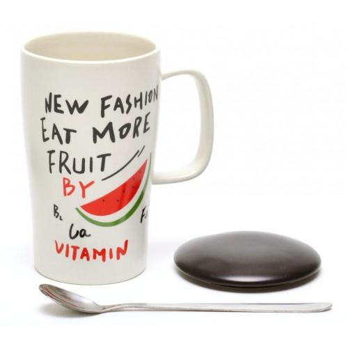 Керамична чаша с капак и метална лъжичка