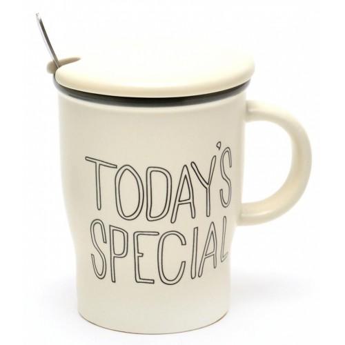 Керамична чаша с капак и метална лъжичка, декорирана с оригинален надпис.