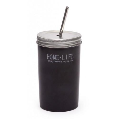 Керамична чаша с метален капак и сламка