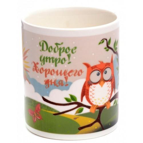 Магическа порцеланова чаша с декорация - бухал