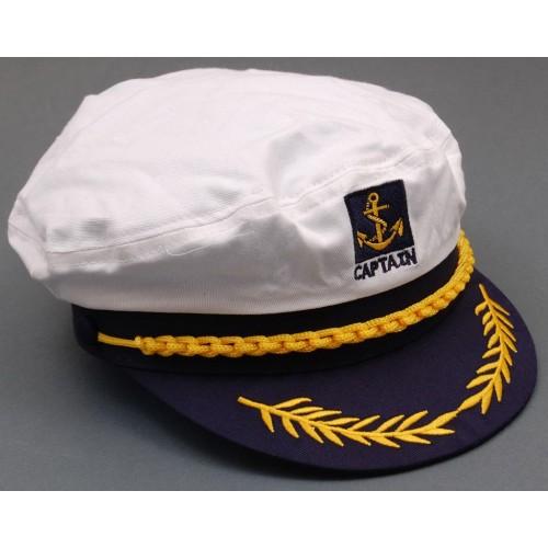 Лятна капитанска шапка с бродерия и козирка