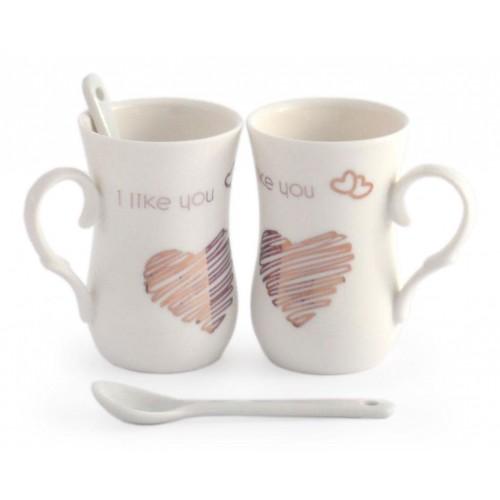 Комплект чаши със сърце и надпис – I miss you