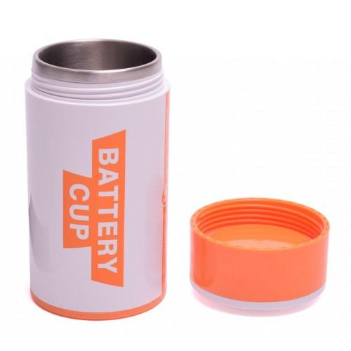 Метална термо чаша във формата на батерия