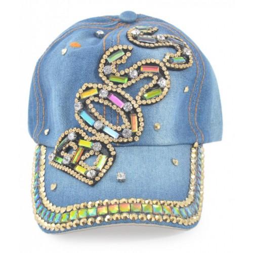 Спортна лятна шапка от дънков плат с надпис BOSS с камъчета