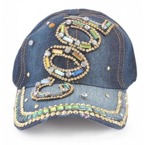 Спортна лятна шапка с надпис COOL и цветни камъни