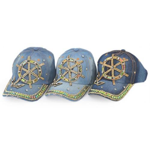 Спортна шапка от дънков плат с рул и котва