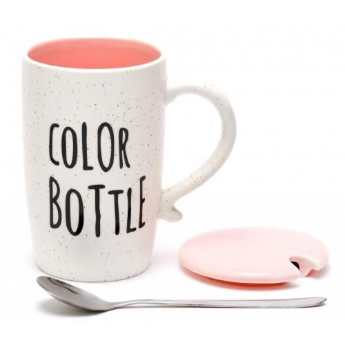 Керамична чаша с капак и лъжичка