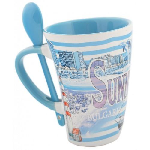 Сувенирна  чаша с лъжичка – Слънчев бряг и хотели
