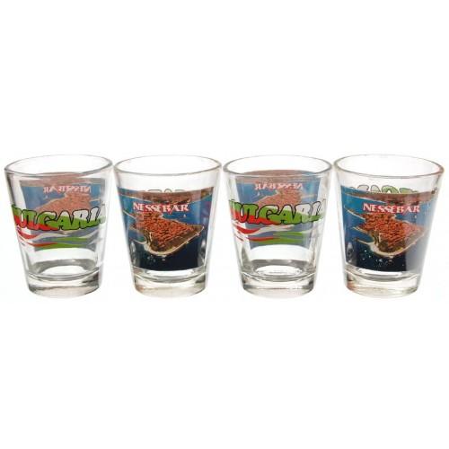 Комплект сувенирни стъклени чаши Несебър
