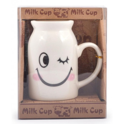 Керамична чаша за мляко с усмивки