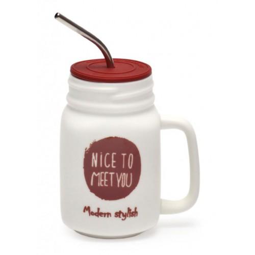 """Керамична чаша декорирана с надпис """"nice to meet you"""""""
