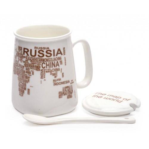 Керамична чаша декорирана с имената на различни държави