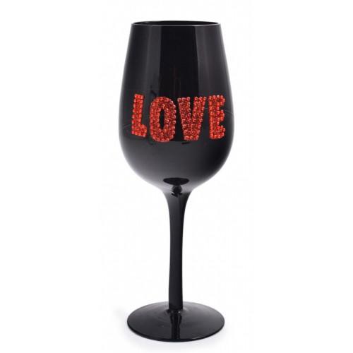 Черна чаша за вино с надпис Love
