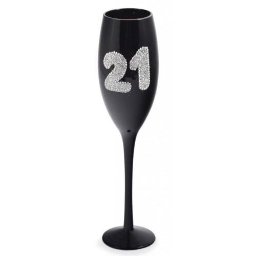 Черна чаша за вино с надпис 21