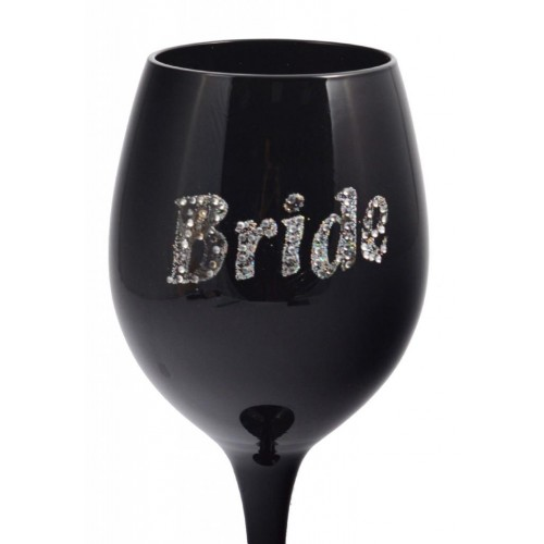 Черна чаша за вино с надпис Bride